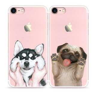 Apple iphone 7、7 plus可愛 哈士奇或八哥 硅膠 浮雕 包邊防摔 手機保護套 軟殼 特價$80