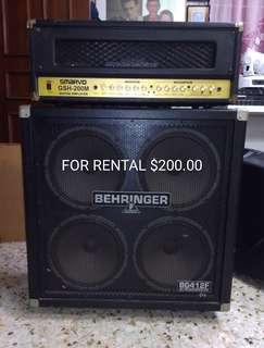 🚚 Rental Smarvo 200 watt amp and Behringer 4 x 12 speaker