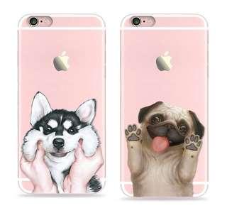 Apple iphone 6s、6s plus 可愛 哈士奇或八哥 硅膠 浮雕 包邊防摔 手機保護套 軟殼 特價$80