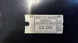 香港早期山頂纜車車票