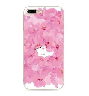 Apple iphone 7 、7 plus 可愛超萌花瓣貓咪 3D立體卡通浮雕  彩繪工藝 硅膠 手機軟殼 特價$80