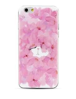 Apple iphone 6s 、6s plus 、5/5s 花瓣貓咪 3D立體卡通浮雕 透明邊 手機軟殼 特價$80