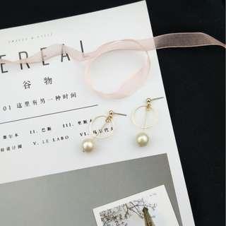 【現貨】學生妹日系氣質珍珠鐘擺耳針耳夾耳環
