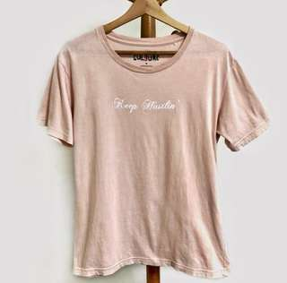 "Tee Culture ""Keep Hustlin"" Blush Pink Tshirt"