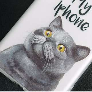 Apple iphone 7、iphone 7 plus 英國短毛貓 磨砂全包邊 手機軟殼  原價$108 特價$80