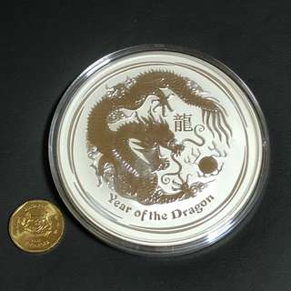 2 pieces of 10oz .999 Silver DRAGON Perth Mint 2012 bullion coin.