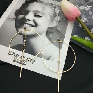 【現貨】韓國氣質大圓圈網美簡約潮流長條浮誇耳針耳夾耳環