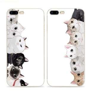 Apple iphone 7、7 plus、6s、6s plus、左邊貓群、右邊貓群 超薄透明邊 手機殼 特價$80