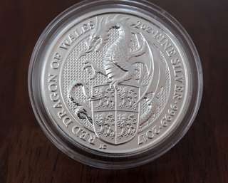 Red Dragon Queens Beast 2 Oz silver (WITH capsule)