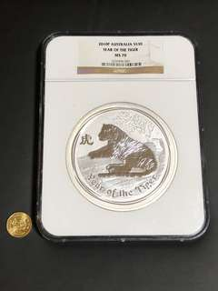RARE NGC MS70 Certified 1kg Giant TIGER Perth Mint 2010 .999 Silver bullion coin