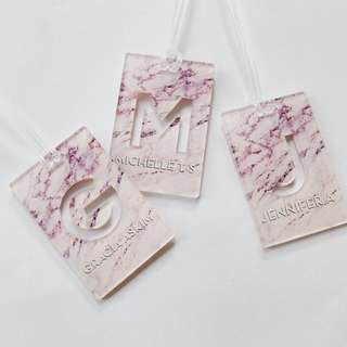 CUSTOM BAG TAG MARBLE PINK