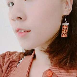 全新手做圖騰質感布織帶耳環(橘)