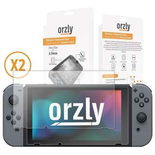 [IN-STOCK] Orzly Glass Screen Protectors compatible with Nintendo Switch - Premium Tempered Glass Screen Protector TWIN PACK [2x Screen Guards - 0.24mm] for 6.2 Inch Tablet Screen on Nintendo Switch Console