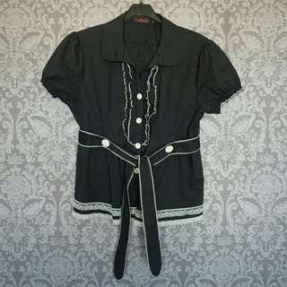 加大尺碼/黑色蕾絲花邊綁帶襯衫