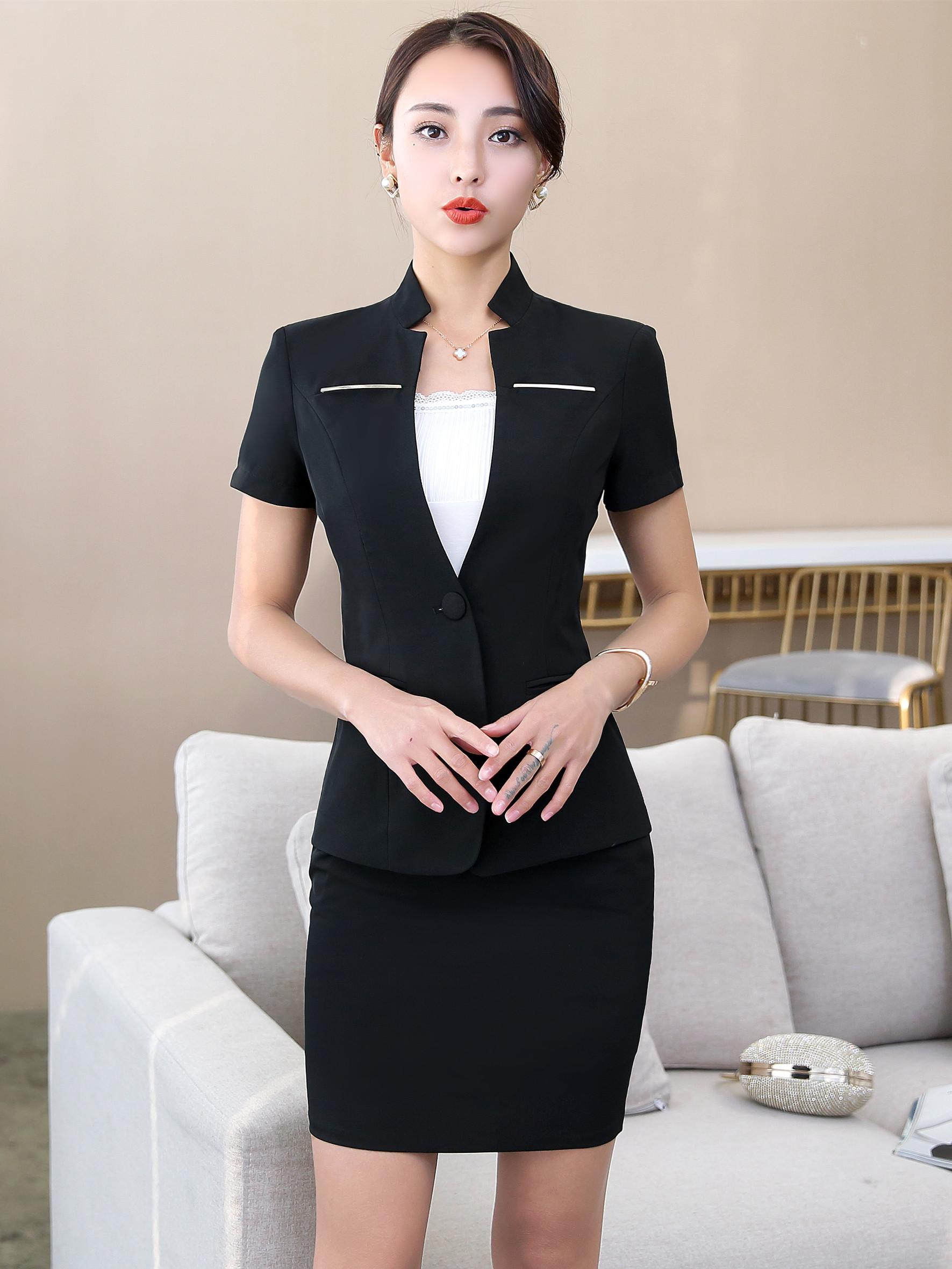 3112d7aa9c2 2-Piece  Black Fashion OL One Button Bodycon Dress Set (S   M   L ...