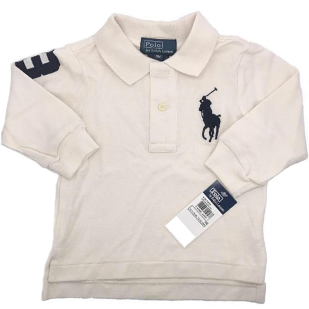 43aee8f0 AUTHENTIC Ralph Lauren Baby Boy Cotton Big Pony Polo Long Sleeve ...