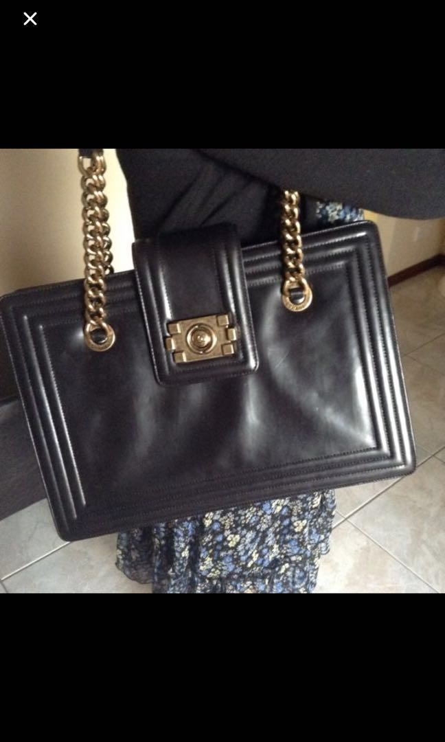 b136fad0b5ce Chanel Jetsetter Boy Tote Bag Black Calfskin Large GHW , Luxury ...