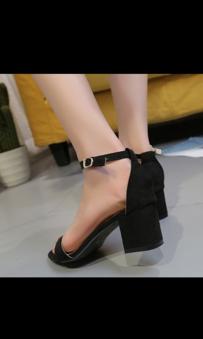 Classic Black ankle strap mid heels