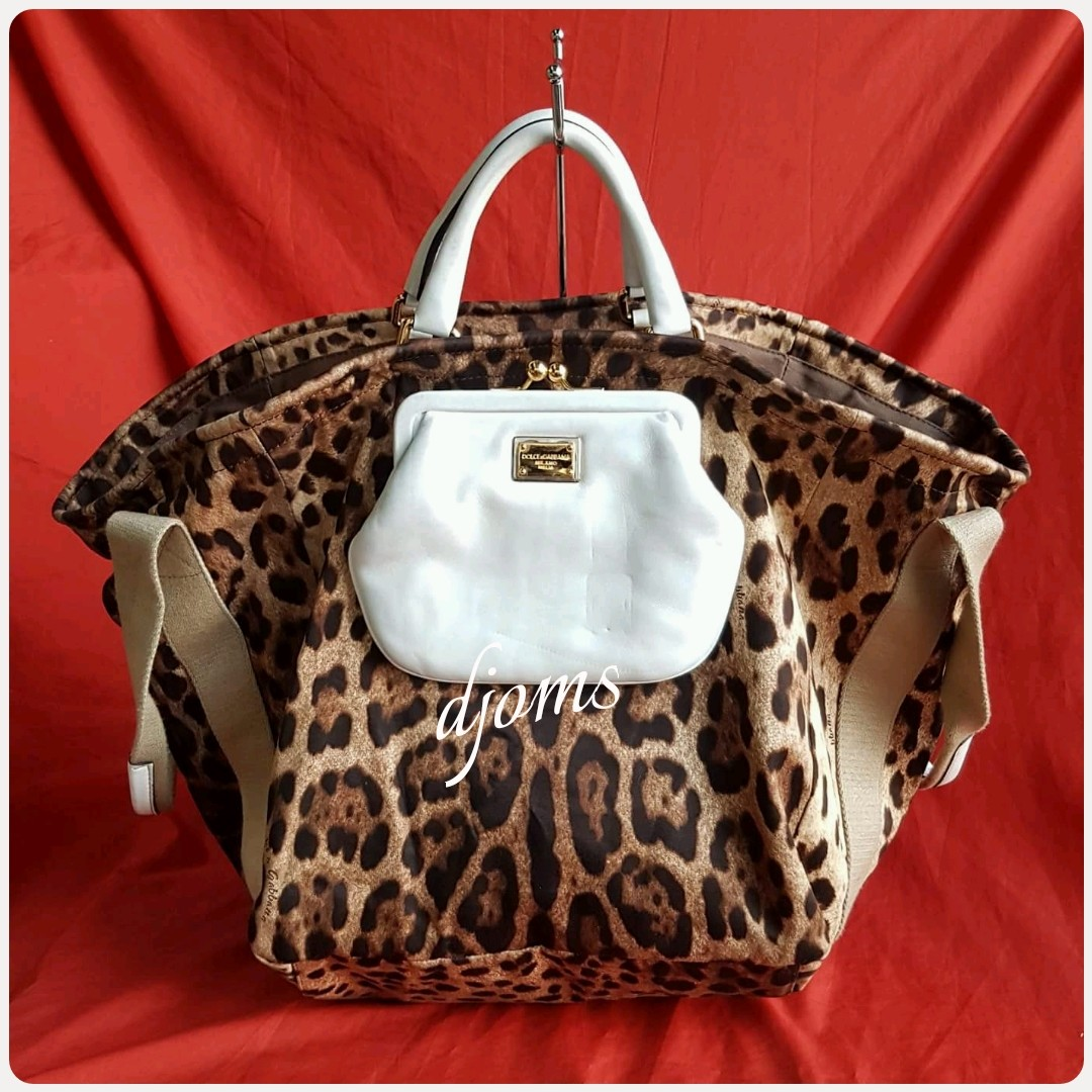 4e453cc96fdb ✓D&G DOLCE & GABBANA BAG LEOPARD PRINT SHOPPERS TOTE BAG, Luxury ...