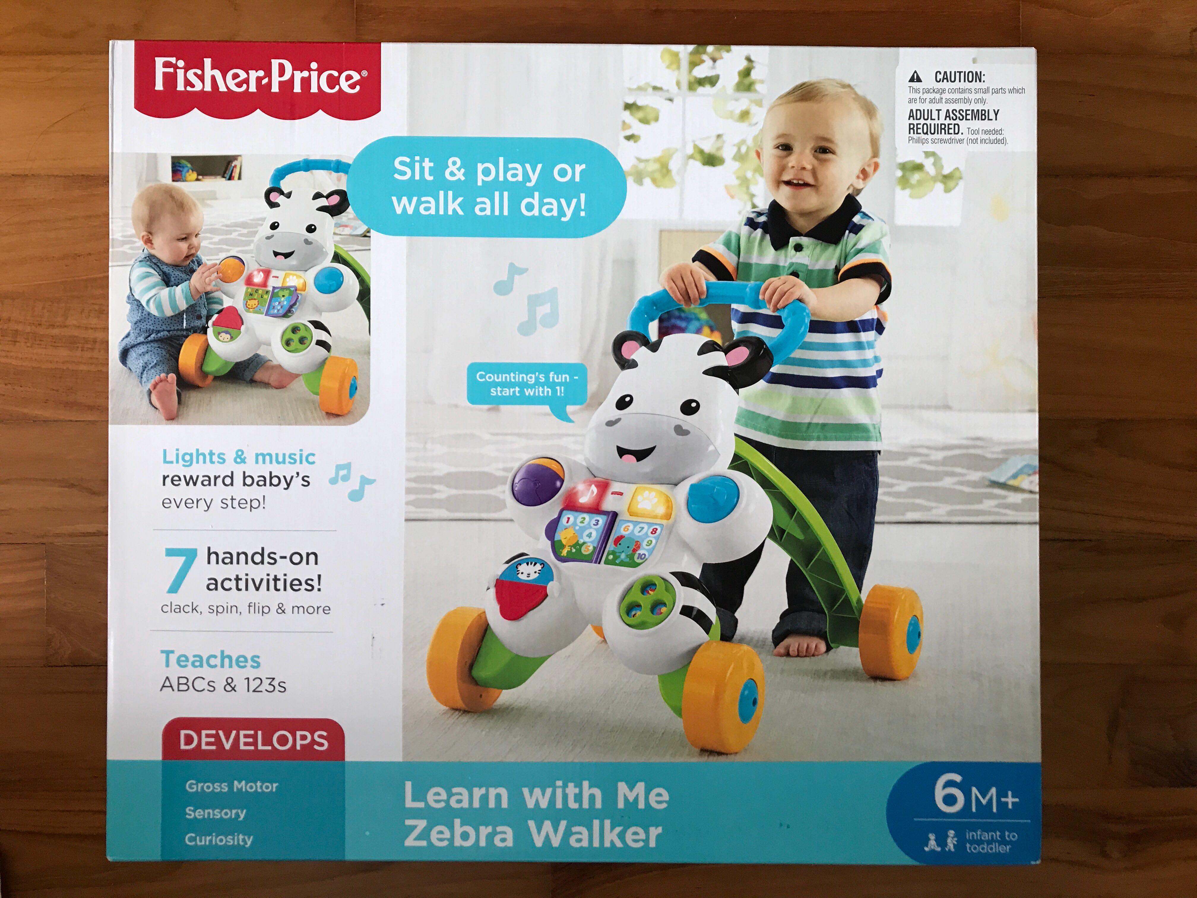 NEW Fisher-Price Learn with Me Zebra Walker Developmental Baby Toy Educational