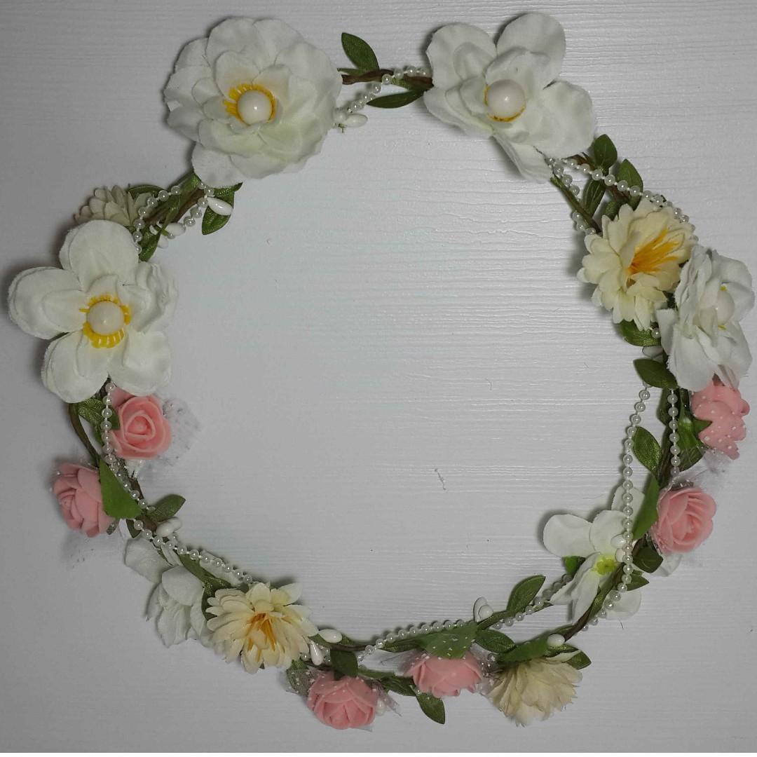flower crown flower crown murah flower crown putih mahkota bunga bando  bunga bando putih 06bb464bbd5