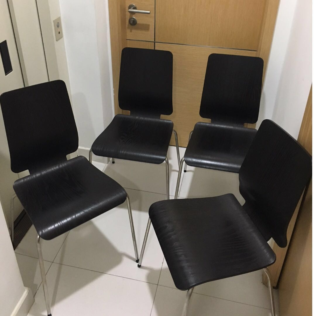 Free Ikea Gilbert Stacking Chairs Brownblack And Chrome