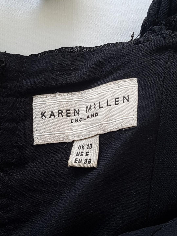Karen Millen Womens Dress Bodycon Black Zip Ruffle Size 10