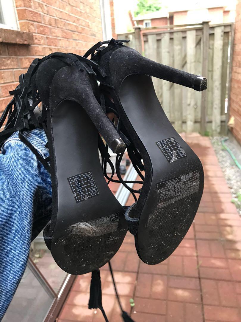 Leather black fringe high heels