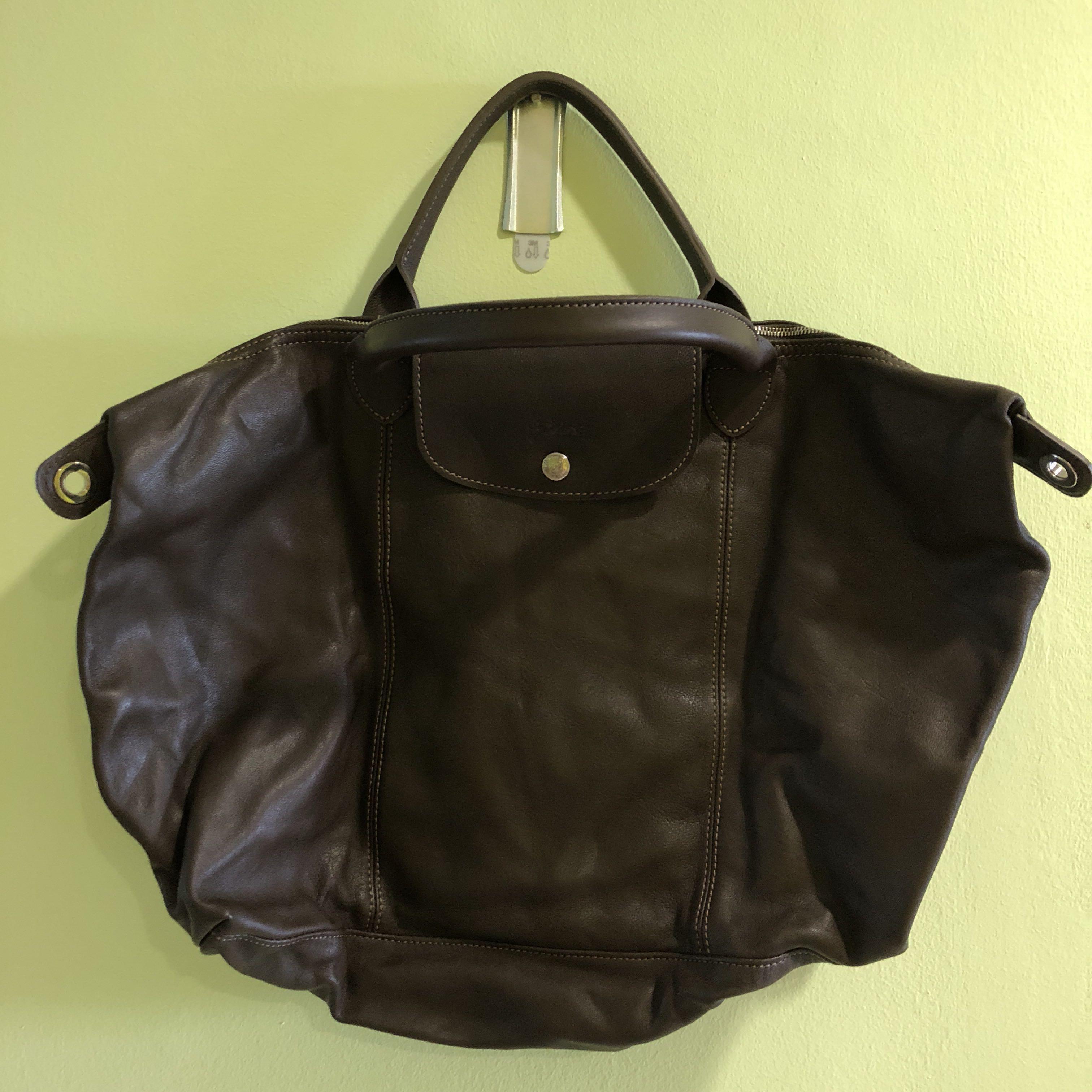 965556d0ae Longchamp Le Pliage Cuir leather medium tote bag, Women's Fashion ...