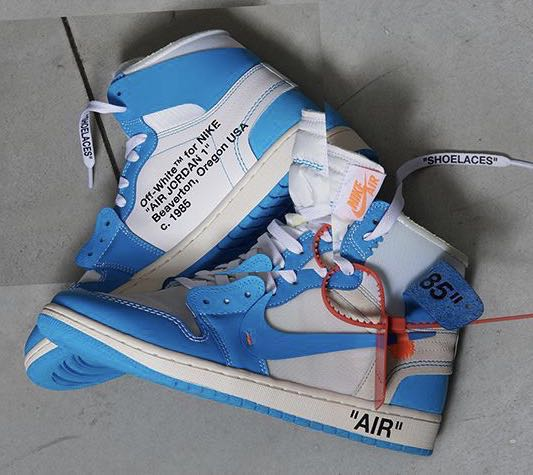 "ea334e229b4 NIKE OFF-WHITE x AIR JORDAN 1 RETRO BLUE ""UNC"", Men's Fashion ..."