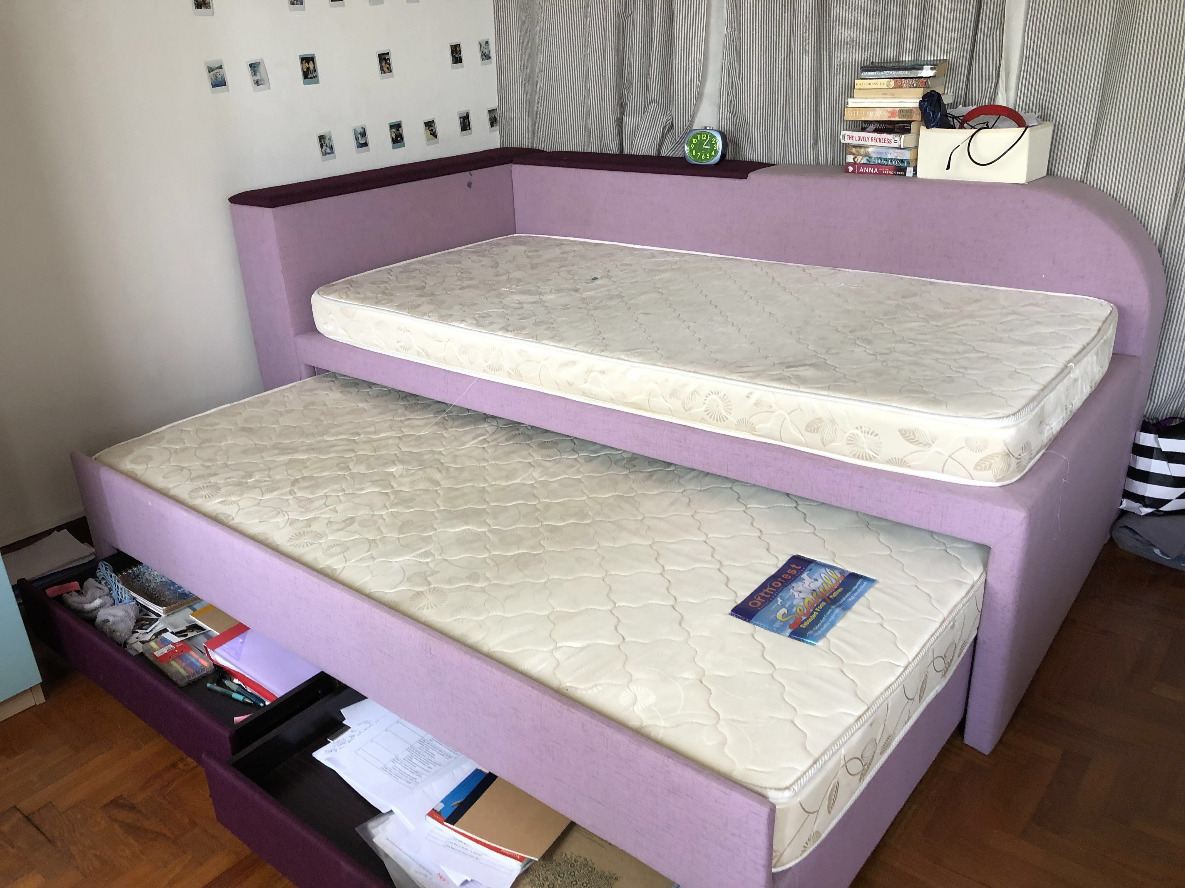 Picture of: Pull Out Single Double Bed With Storage Mattress 100 Furniture Beds Mattresses On Carousell