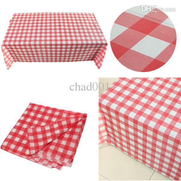 Red White Checkered Plastic Table Cloth Design Craft Others On