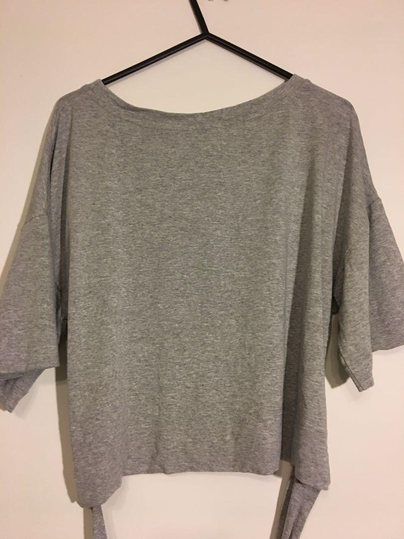 RUBY Grey Alta Wrap Cropped Tee Size 10 Made in New Zealand