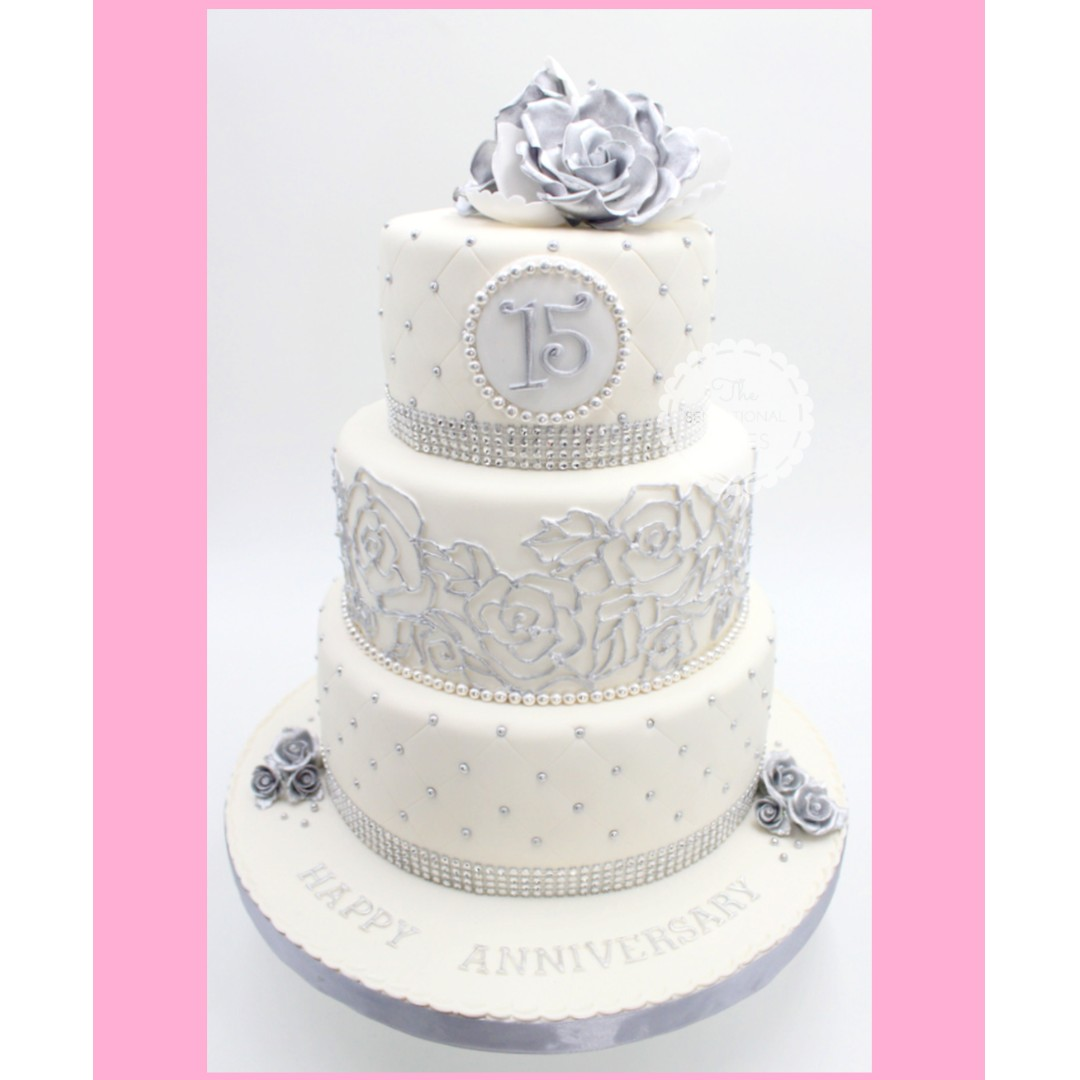 Silver Quilted White Fondant 2 Tier Cake Wedding Anniversary Theme
