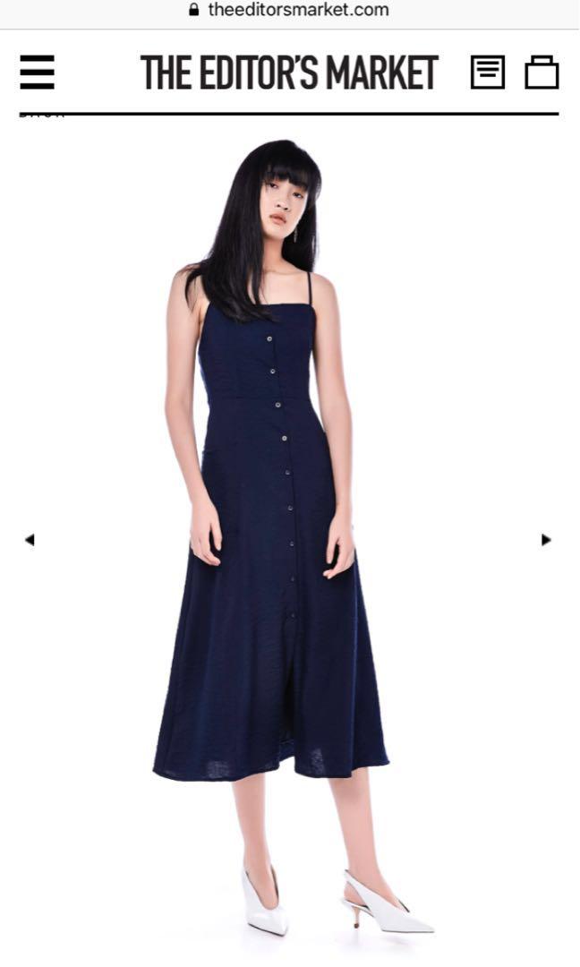 c8082ece38b1 TEM Naiara Button-Down Midi Dress in Midnight Blue
