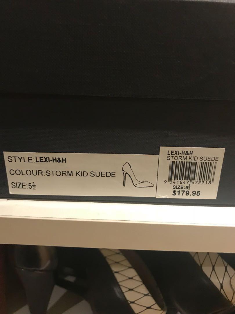 Tony Bianco suede leather grey heels size 5.5
