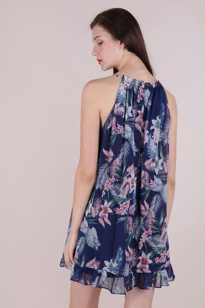 TTR Ellery Trapeze Dress (Navy tropicals)
