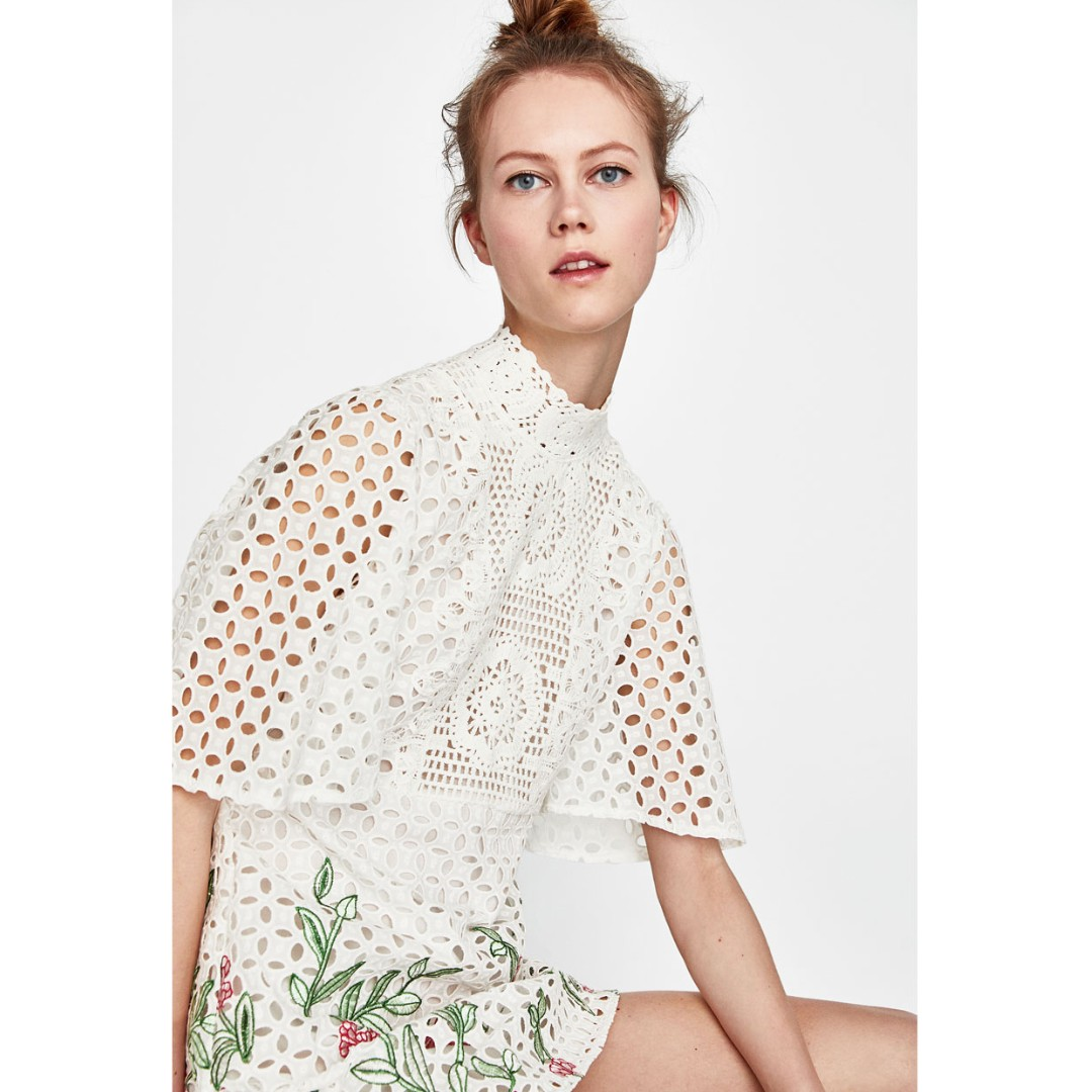 46bc9d29b20 Zara Style Embroidered Lace Dress