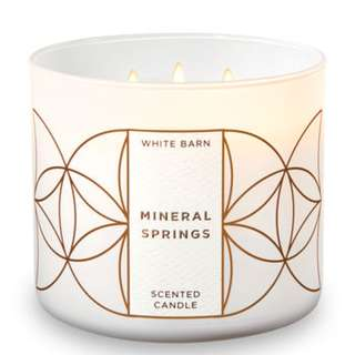 BN Bath & Body Works White Barn MINERAL SPRINGS 3-Wick Candle