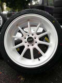 Advan RZ-DF 17 inch sports rim vios tayar baru . *jual morah morah kasi you happy*
