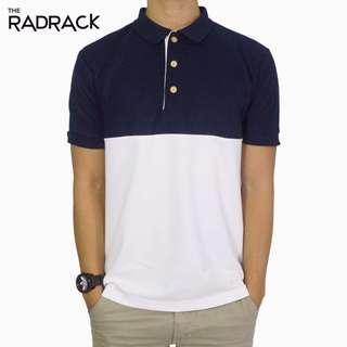 🚚 Colour Block Polo T-Shirt (Navy Blue / White)