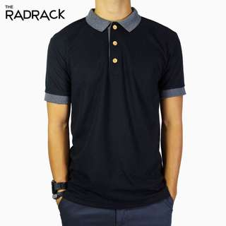 🚚 Basic Black Polo T-Shirt (Grey Collar)