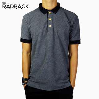 🚚 Basic Grey Polo T-Shirt (Black Collar)