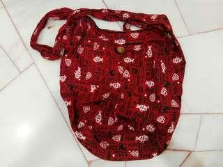 Red fish-print boho bag
