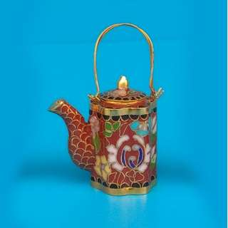 Red Pumpkin Shape Cloisonne Miniature Tea Pot Hand-painted Small Handle Pot