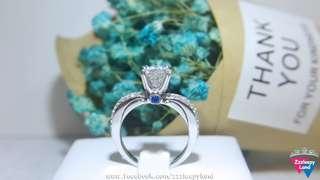 實物拍攝 超閃主石1卡臂鑲碎石 兩則鑲有藍寶石高炭鑽6層包金戒指,可訂造任何圈碼