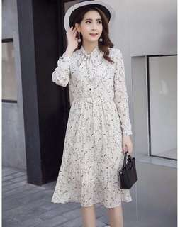 Korean long sleeve flora dress