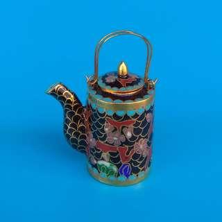 Black Round Cloisonne Small Handle Pot Hand-painted Miniature Tea Pot