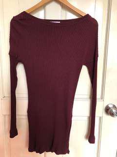 Zara Maroon Ribbed Sweater
