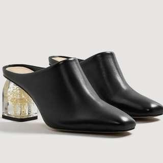 MANGO LE Flowered Heel Leather Shoes